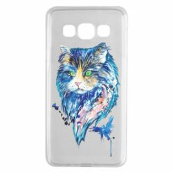 Чехол для Samsung A3 2015 Cat in blue shades of watercolor