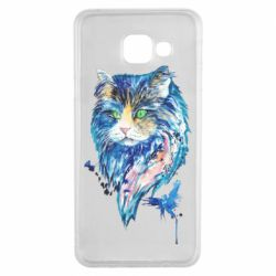 Чехол для Samsung A3 2016 Cat in blue shades of watercolor