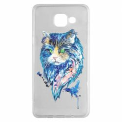 Чехол для Samsung A5 2016 Cat in blue shades of watercolor