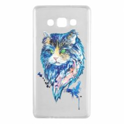 Чехол для Samsung A7 2015 Cat in blue shades of watercolor