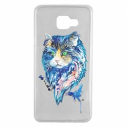 Чехол для Samsung A7 2016 Cat in blue shades of watercolor
