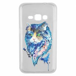 Чехол для Samsung J1 2016 Cat in blue shades of watercolor