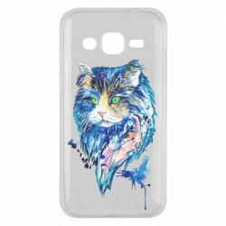 Чехол для Samsung J2 2015 Cat in blue shades of watercolor