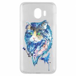 Чехол для Samsung J4 Cat in blue shades of watercolor