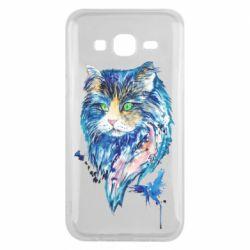 Чехол для Samsung J5 2015 Cat in blue shades of watercolor