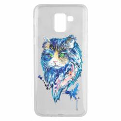 Чехол для Samsung J6 Cat in blue shades of watercolor