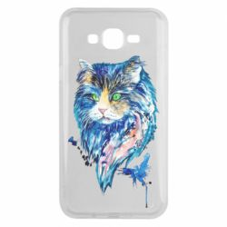 Чехол для Samsung J7 2015 Cat in blue shades of watercolor