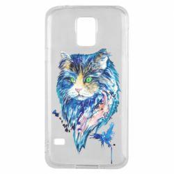 Чехол для Samsung S5 Cat in blue shades of watercolor