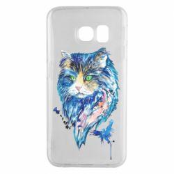 Чехол для Samsung S6 EDGE Cat in blue shades of watercolor