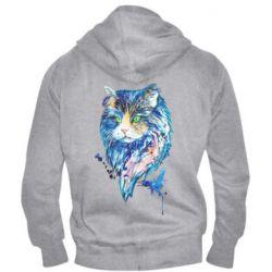 Мужская толстовка на молнии Cat in blue shades of watercolor