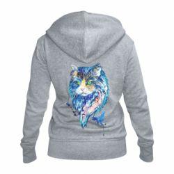 Женская толстовка на молнии Cat in blue shades of watercolor