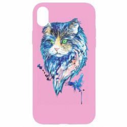 Чехол для iPhone XR Cat in blue shades of watercolor