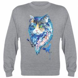 Реглан (свитшот) Cat in blue shades of watercolor