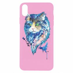 Чехол для iPhone Xs Max Cat in blue shades of watercolor