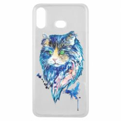Чехол для Samsung A6s Cat in blue shades of watercolor