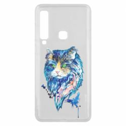 Чехол для Samsung A9 2018 Cat in blue shades of watercolor