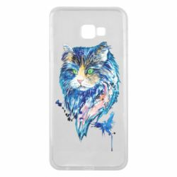 Чехол для Samsung J4 Plus 2018 Cat in blue shades of watercolor