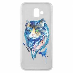Чехол для Samsung J6 Plus 2018 Cat in blue shades of watercolor
