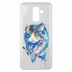 Чехол для Samsung J8 2018 Cat in blue shades of watercolor