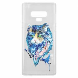 Чехол для Samsung Note 9 Cat in blue shades of watercolor