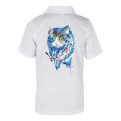 Детская футболка поло Cat in blue shades of watercolor
