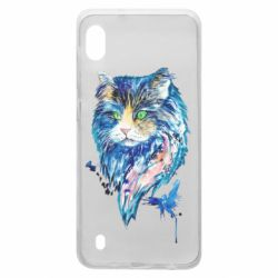 Чехол для Samsung A10 Cat in blue shades of watercolor
