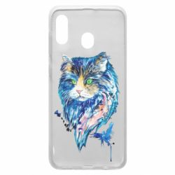 Чехол для Samsung A20 Cat in blue shades of watercolor