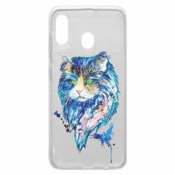 Чехол для Samsung A30 Cat in blue shades of watercolor