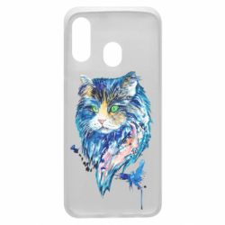 Чехол для Samsung A40 Cat in blue shades of watercolor