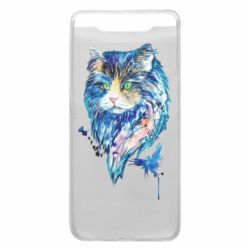 Чехол для Samsung A80 Cat in blue shades of watercolor