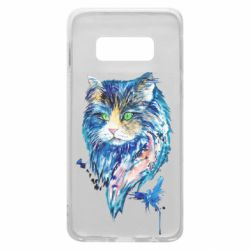Чехол для Samsung S10e Cat in blue shades of watercolor