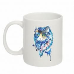 Кружка 320ml Cat in blue shades of watercolor