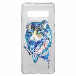 Чехол для Samsung S10+ Cat in blue shades of watercolor
