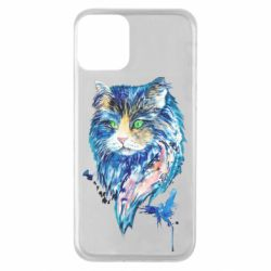 Чехол для iPhone 11 Cat in blue shades of watercolor
