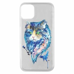 Чехол для iPhone 11 Pro Cat in blue shades of watercolor