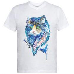 Мужская футболка  с V-образным вырезом Cat in blue shades of watercolor