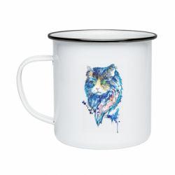 Кружка эмалированная Cat in blue shades of watercolor