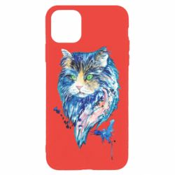 Чехол для iPhone 11 Pro Max Cat in blue shades of watercolor