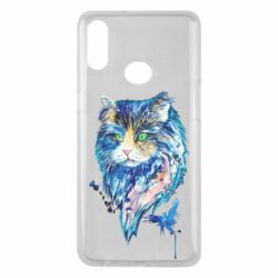 Чехол для Samsung A10s Cat in blue shades of watercolor