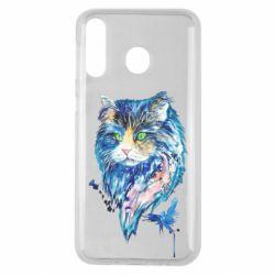 Чехол для Samsung M30 Cat in blue shades of watercolor