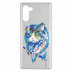 Чехол для Samsung Note 10 Cat in blue shades of watercolor