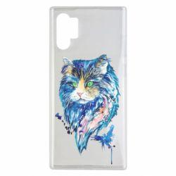 Чехол для Samsung Note 10 Plus Cat in blue shades of watercolor
