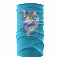 Бандана-труба Cat in blue shades of watercolor