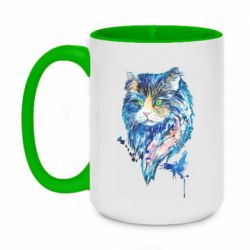 Кружка двухцветная 420ml Cat in blue shades of watercolor