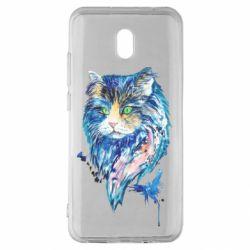Чехол для Xiaomi Redmi 8A Cat in blue shades of watercolor