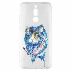 Чехол для Xiaomi Redmi 8 Cat in blue shades of watercolor