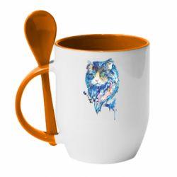 Кружка с керамической ложкой Cat in blue shades of watercolor