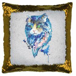 Подушка-хамелеон Cat in blue shades of watercolor