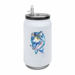 Термобанка 350ml Cat in blue shades of watercolor