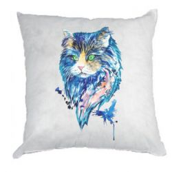 Подушка Cat in blue shades of watercolor